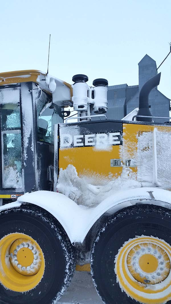 Heavy Equipment in snow with dual XLR Powered Precleaner installation
