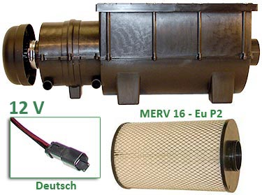 RESPA-SD - 12 volt - Deutsch Connector - MERV 16 (EU P2) Filter