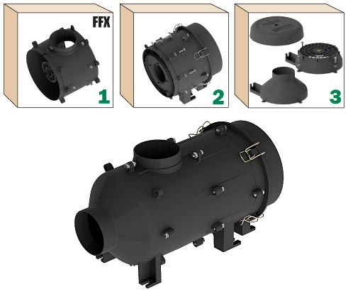 RESPA-FFX Non-Powered REVOLUTION in a Box; Recirculated Air Filtration System